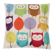Vintage Cotton Linen Owl Pillow Case Sofa Waist Throw Cushion Cover Home Decor