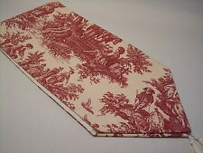 "NEW~53"" RED ON CREAM~WAVERLY Country Life Toile~Lined Tablerunner With Tassels"