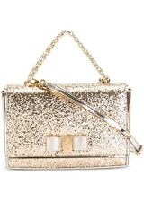 Salvatore Ferragamo Vara Ginny Glittered Patent Leather Crossbody Bag