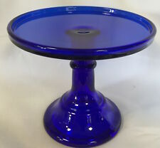 Cake Plate Pastry Tray Bakers Stand Cupcake Plain & Simple Cobalt Blue Glass 6""