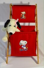 Peanuts Gang Snoopy Canvas  Folding Laundry Toy Hamper Wood Frame