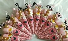 Pre filled pink and black favour hen party sweet cones party bags PERSONALISED