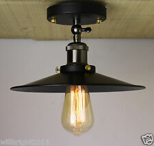 Industrial Retro Vintage Flush Mount LAMP Black Metal Shade Ceiling Pendant Lamp