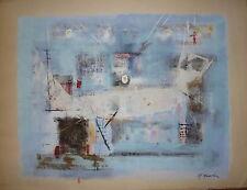 Makoto Masuda gouache papier signée 1960 artiste japonnais Art Abstrait lyrique