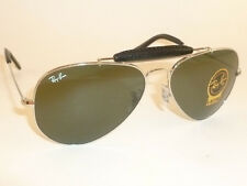 New RAY BAN  Aviator Silver Outdoorsman Leather  RB 3422Q 003  G-15 Lenses  58mm