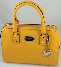 New Michael Kors MK Medium Saffiano Leather Satchel Shoulder Bag Purse Yellow