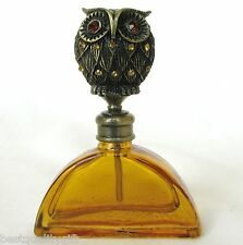 NEW ORANGE+BRASS VINTAGE PERFUME BOTTLE+CRYSTAL GEM OWL STOPPER+BOX PB-1176