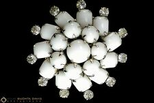 Vintage Snowflake Brooch White Milk Glass, Clear Rhinestones Domed 3-Dimensional