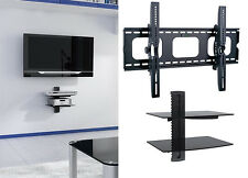"Tilt TV Wall Mount with Shelf Double DVD Shelves for 60"" 65"" 70"" 75"" 80"" 85"" TV"