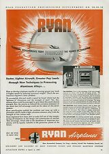 Lot of 3 1945 Ryan Aeronautical Ads Airplane Aircraft Parts Aviation Research
