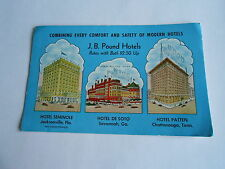 Cool Vintage J B Pound Hotels Rates with Bath $2.50 & Up Advertising Ink Blotter