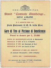 ALESSANDRIA - Novi Ligure : libretto GARA DI TIRO AL PICCIONE 1930