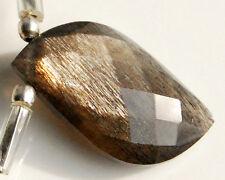 AAA Feldspar Grey Gold Flash Faceted Mango Briolette Gemstone Bead