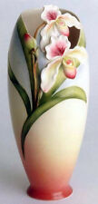FRANZ FZ00273 Porcelain Lady Slipper Orchid Design Tall Flower Vase - New in box
