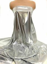 "LIQUID LAME FABRIC SILVER/WHITE 45"" BY THE YARD COSTUME, FORMAL, CRAFTS, DECOR"