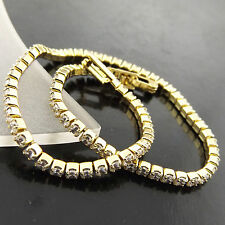 A526 GENUINE REAL 18K YELLOW G/F GOLD DIAMOND SIMULATED TENNIS BRACELET BANGLE