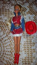 BARBIE DOLL COWBOY COWGIRL DENIM JEANS OUTFEET RED HAT BOOTS VINTAGE SUPERSTAR