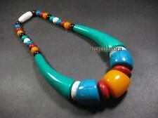 N4644 TIBET Handcrafted tribal multi color RESIN beads Massive Necklace Jewelry