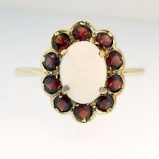 9Ct Yellow Gold Opal & Garnet Halo Cluster (11x13mm) Ring (Size O)