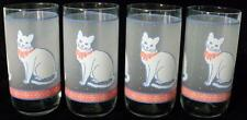 Vintage Set Of 4 Libbey Cat Drinking Glasses Tumblers