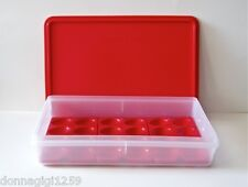 Tupperware Cold Cut Keeper with a Set of 3 Egg Tray Inserts - Popsicle Red