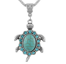Crystal Rhinestone Tortoise Turtle Animal Pendant Charms Chain Necklace Jewelry