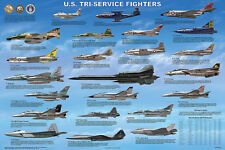 U.S. Tri-Service Fighters Educational Military Airplanes Chart Poster 24x36