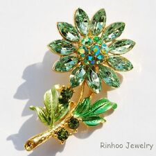 GP Gifts SunFlower Hot Sale Mix Color Rhinestone Crystal Brooch Pins Green GIFT
