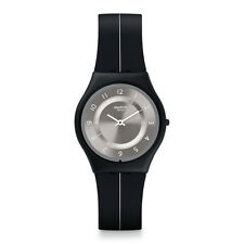 Swatch My Silver Black Silicone Classic Skin Dial Swiss Quartz Watch 34mm SFB145