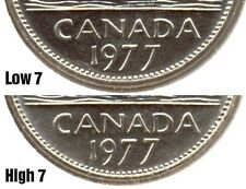 2-1977 Canadian Five Cents Coin High 7 & Low 7- RARE.