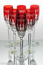 6 Waterford Clarendon Ruby Red Cut to Clear Crystal Wine Champagne Flutes New *