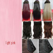 Real Thick Full Head Clip in Hair Extensions Ombre Dip Dye One Piece Wavy Curly