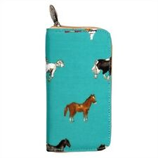 Milly Green Long Zipped Purse Wallet Pouch Clutch Horse Equestrian Pony Teal