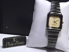 Womens Philip Persio Black Ion Finish Band & Case Watch with Fresh New Battery!