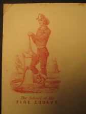ANTIQUE CIVIL WAR ERA THE SCHOOL OF THE FIRE ZOUAVE POSTAL COVER MUSEUM QUALITY