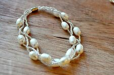 Multiple Strands Bracelet with Fresh Water Cultured Pearls and beads