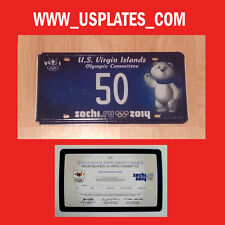 2014 OLYMPIC GAMES SOCHI VIRGIN ISLANDS LICENSE RUSSIAN BEAR PLATE SPORT TAG