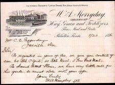 1896 Palatka FL  - W A Merryday Orange Boxes Grain Flour Fertilizer Letter Head