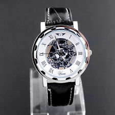 Luxury Men Skeleton Mechanical Leather Band Stainless Steel Sport Wrist Watch