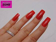 WIDE FIT, Hand Painted False / Fake Full Cover Nails, Long Length Bright Red