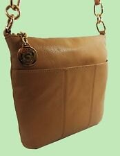 TOMMY HILFIGER Sand Beige Pebbled Leather Cross-Body Bag Msrp $118 *Comes w/Tag*