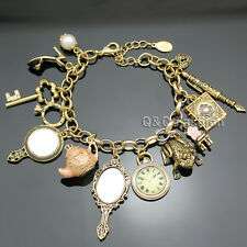Vintage Gold Fairytale Cinderella Alice in Wonderland 13 Charms Bangle Bracelet