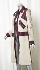 MARNI Womens Light Taupe+Red Suede Leather Long-Sleeve Zip Coat Jacket 44/8