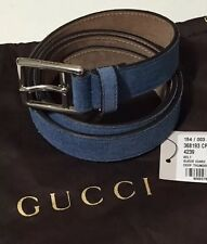 NWT GUCCI Men's 368193 DEEP THUNDER Blue SUEDE ICARO DRESS BELT Size 38