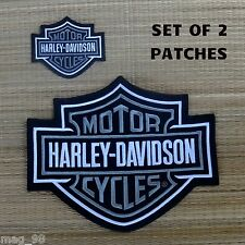 Harley Davidson Classic Silver Logo Sew-on Patch Set - Made in USA