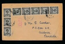 MALAYA PAHANG to CANADA VICTORIA 8 x 1c FRANKING 1937 KUALA LIPIS