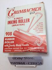 """Vintage GRUMBACHER 4"""" Inch Rubber Inking Roller Inking - Block Printing *RARE*"""