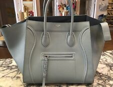 CELINE Baby Blue Phantom Medium Luggage Grained Leather Tote Bag