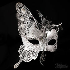 3D Half Butterfly Design Venetian Masquerade Mask for Women [Silver/White]
