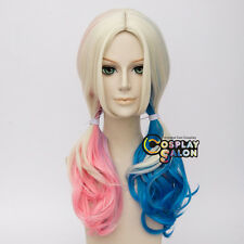 Two Ponytails Curly For Harley Quinn Blonde Mix Blue Pink  Anime Cosplay Wig+Cap